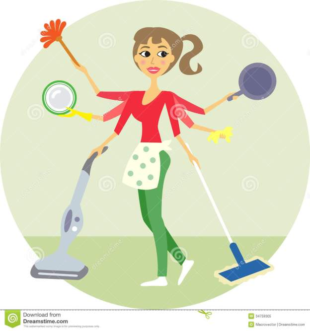 housewife-all-trades-washing-cleaning-illustration-34759305
