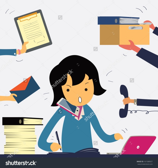 stock-vector-very-busy-business-woman-working-hard-on-her-desk-in-office-with-a-lot-of-paper-work-talking-on-161588927.jpg